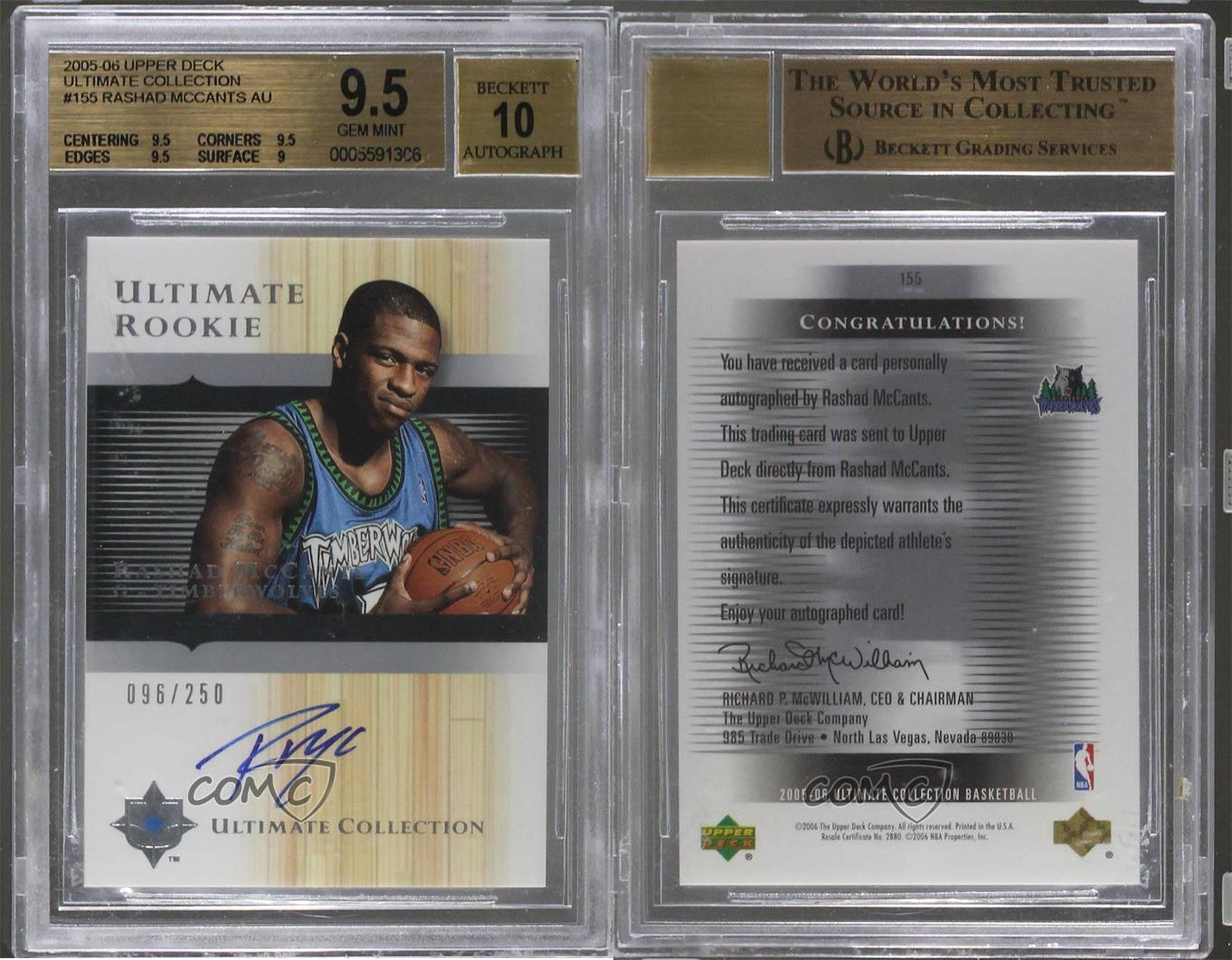 2005-06-Ultimate-Collection-155-Rashad-McCants-BGS-9-5-GEM-MINT-Auto-Rookie-Card