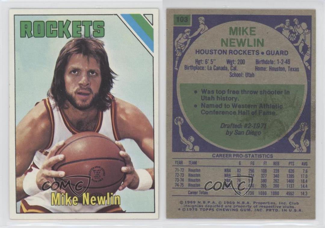 1975 76 Topps 103 Mike Newlin Houston Rockets Basketball Card