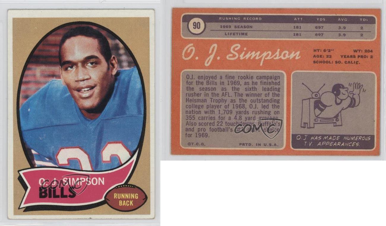 Oj Simpson Buffalo Bills Oj Simpson Topps