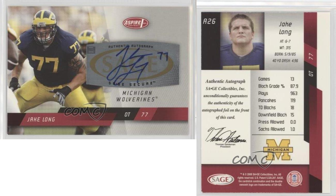 2008-SAGE-Aspire-Autographs-A26-Jake-Long-Michigan-Wolverines-Auto-Football-Card