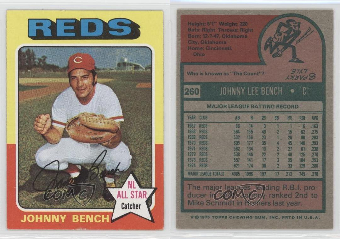 1975 Topps 260 Johnny Bench Cincinnati Reds Baseball Card Ebay