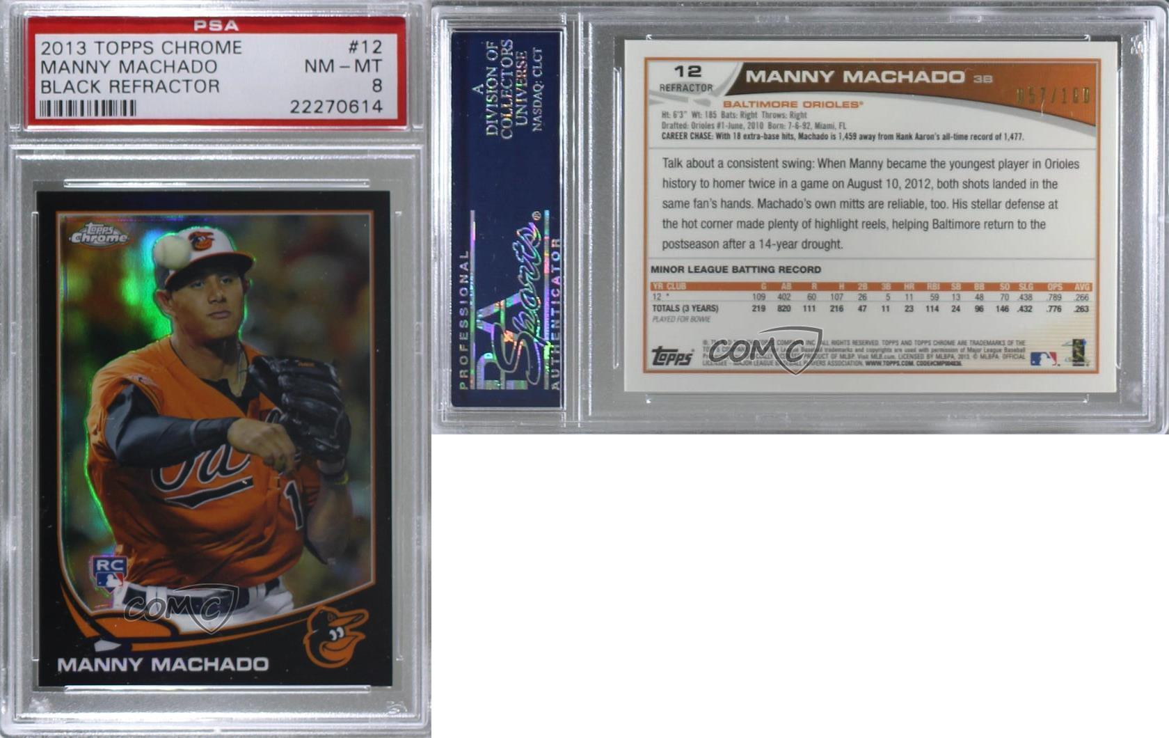2013 Topps Chrome MANNY MACHADO ROOKIE REFRACTOR #12 qty available PSA 9