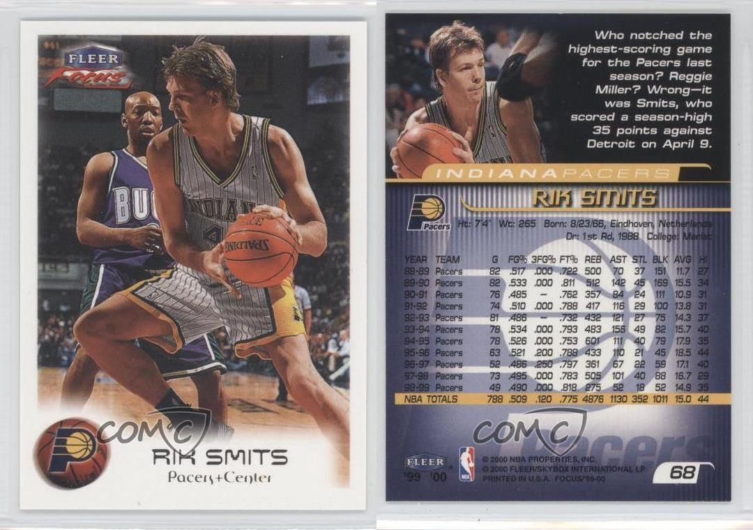 1999 00 Fleer Focus 68 Rik Smits Indiana Pacers Basketball Card