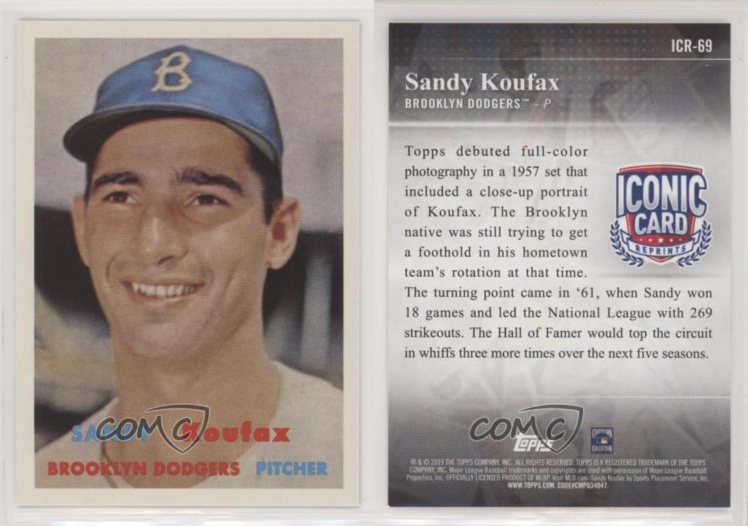 2019 Topps Iconic Card Reprints #ICR-49 Sandy Koufax Brooklyn Dodgers Baseball