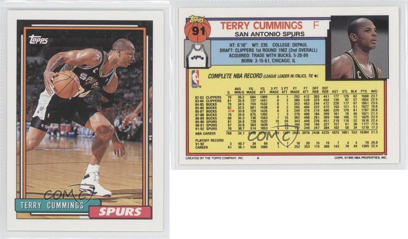 1992 93 Topps 91 Terry Cummings San Antonio Spurs Basketball Card