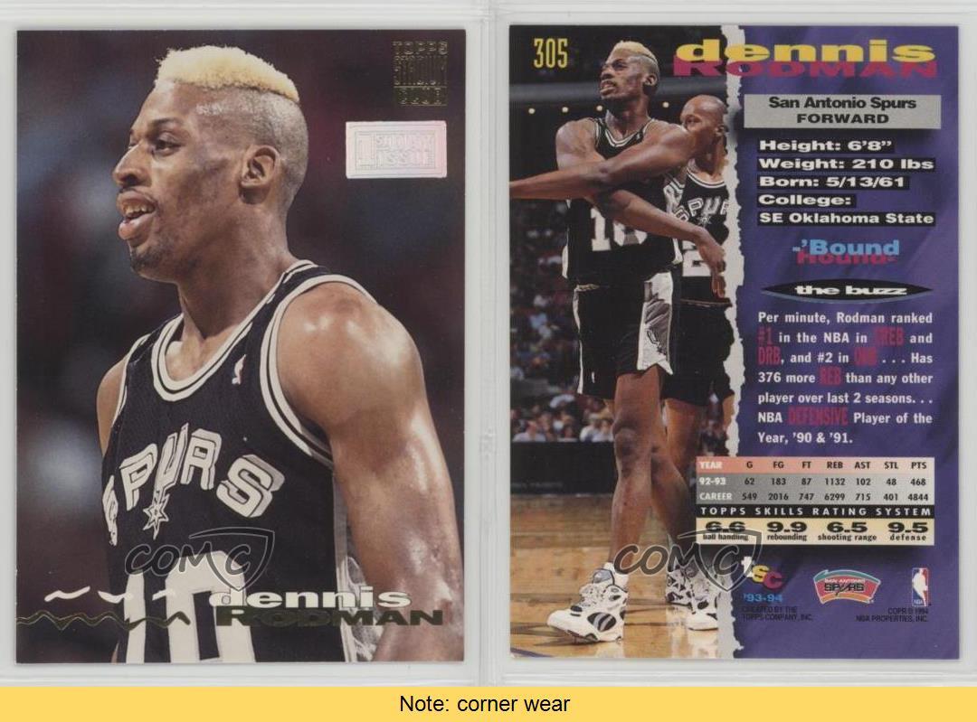 Details about 1993 Topps Stadium Club 1st Day Issue  305 Dennis Rodman San  Antonio Spurs Card c6774ae0f