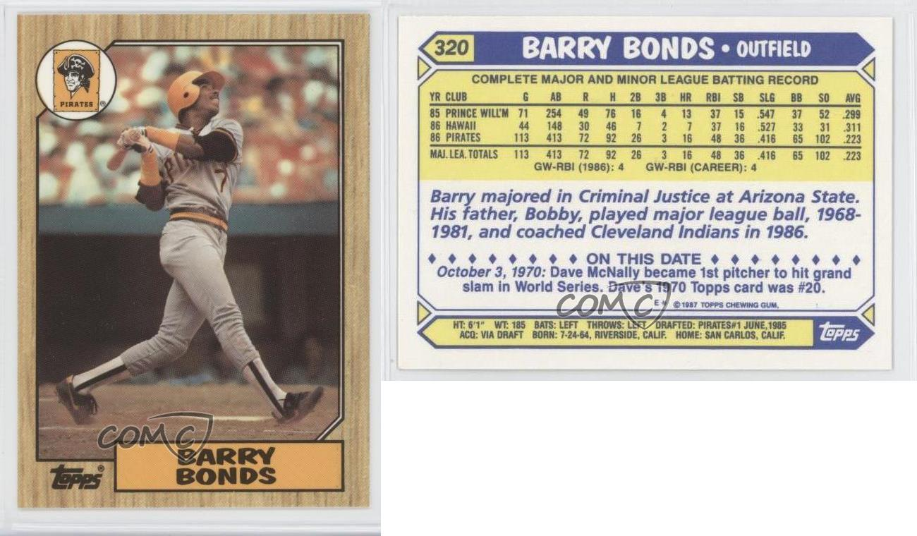 1987 Topps Tiffany 320 Barry Bonds Pittsburgh Pirates