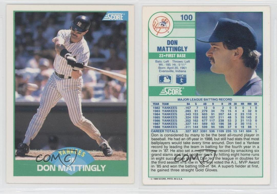 1989 Score 100 Don Mattingly New York Yankees Baseball