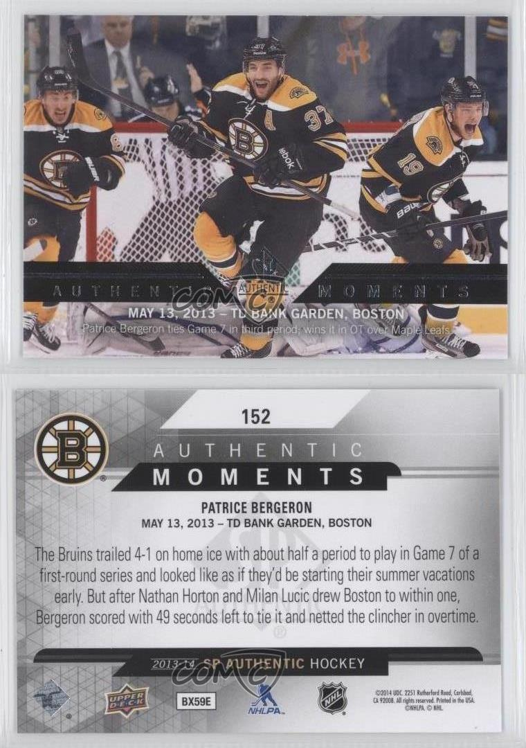 2013-14-SP-Authentic-152-Patrice-Bergeron-Boston-Bruins-Hockey-Card