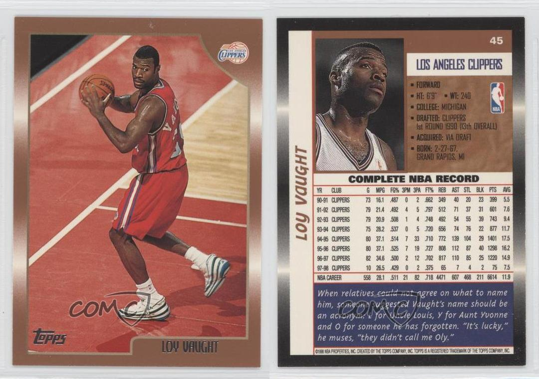1998 99 Topps 45 Loy Vaught Los Angeles Clippers Basketball Card