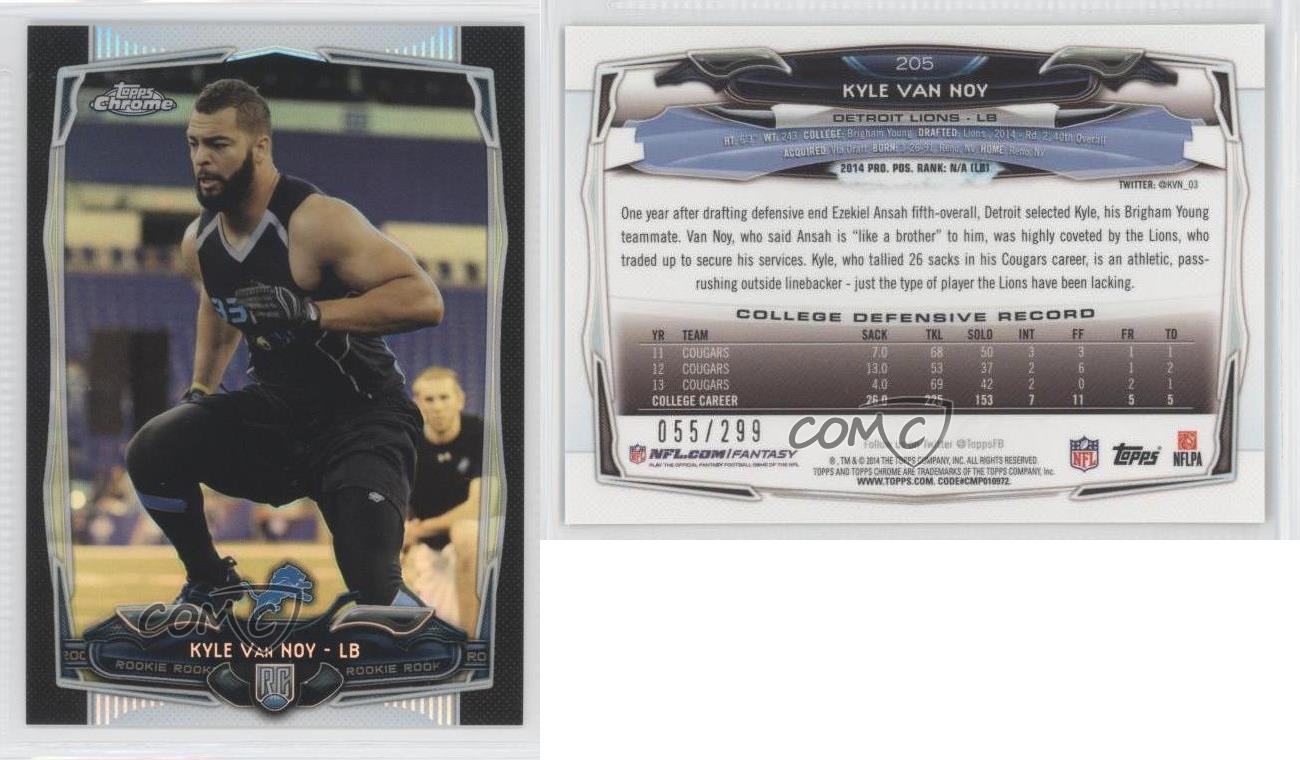 2014-Topps-Chrome-Black-Refractor-205-Kyle-Van-Noy-Detroit-Lions-Football-Card