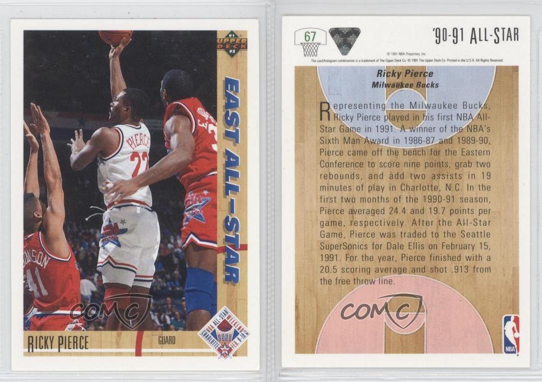 1991 92 Upper Deck 67 Ricky Pierce NBA All Star Team Basketball