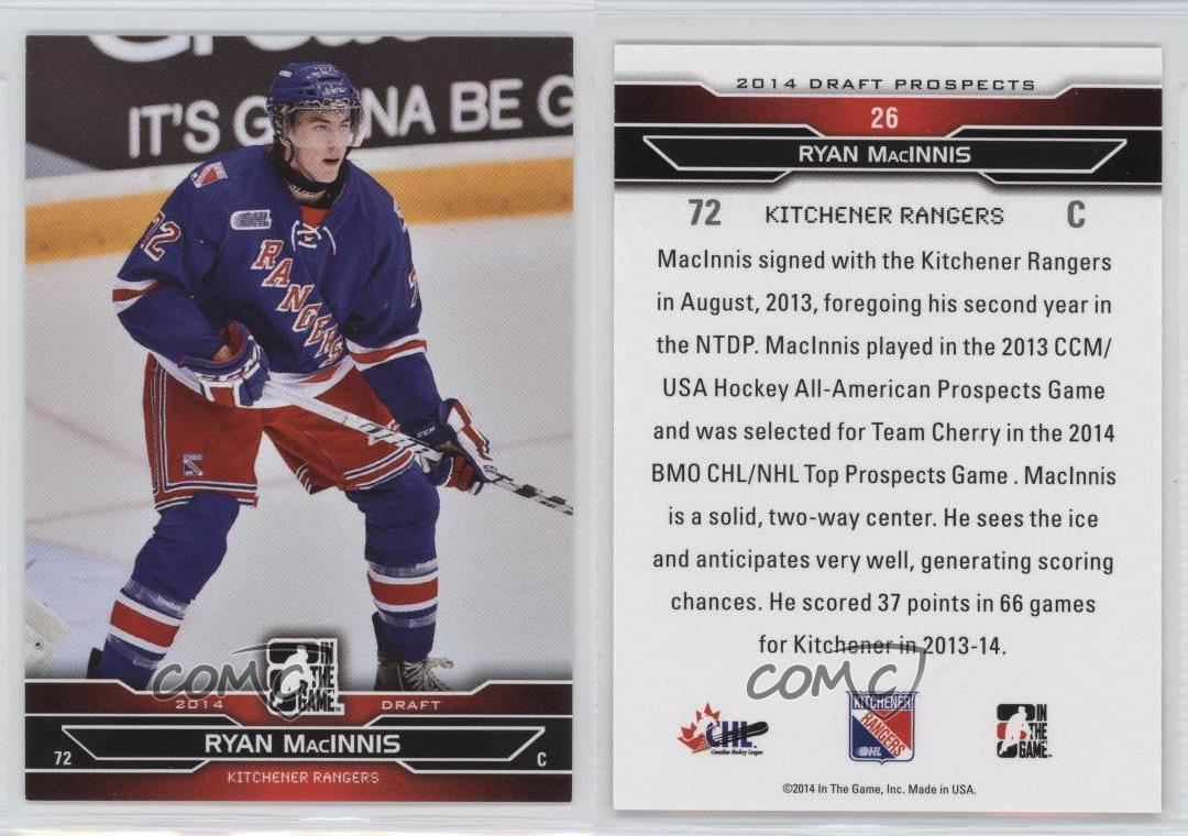 2014 In the Game Draft Prospects #26 Ryan MacInnis Kitchener Rangers ...