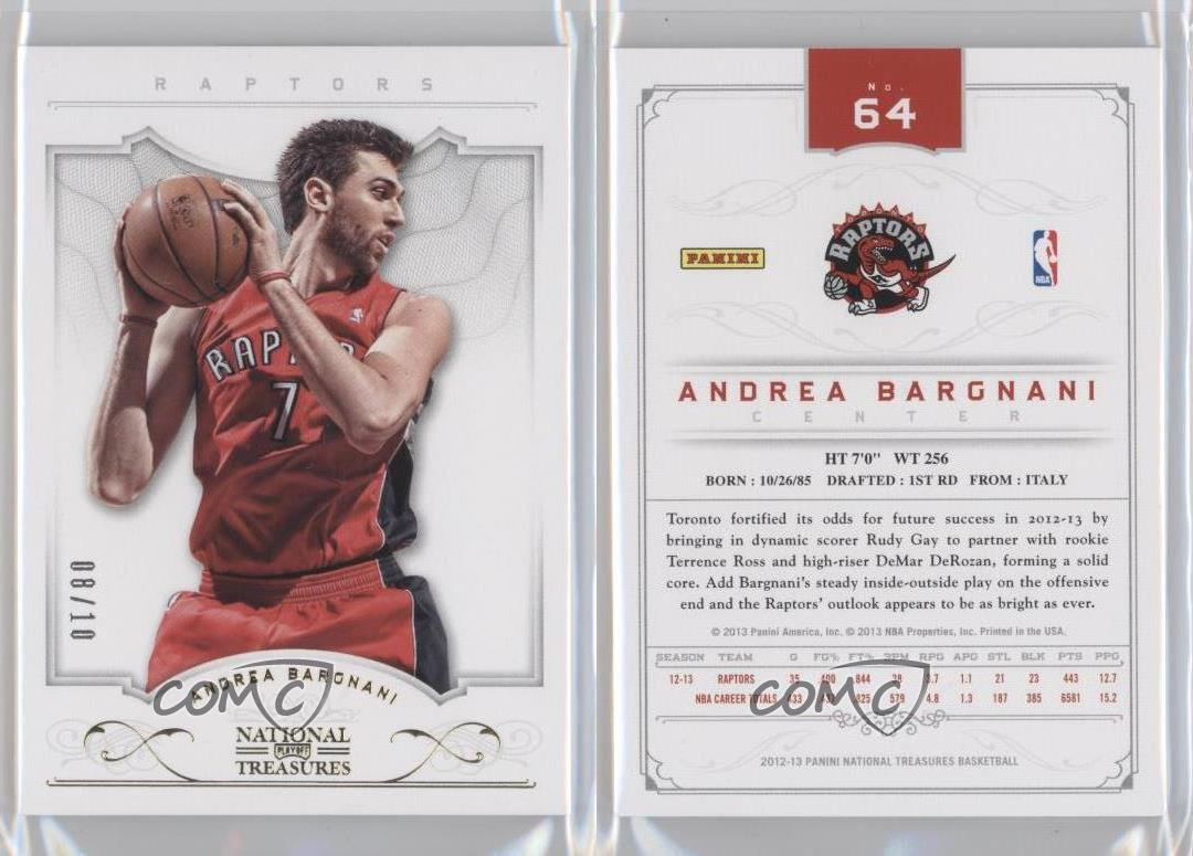 2012-13-Panini-National-Treasures-Gold-64-Andrea-Bargnani-Toronto-Raptors-Card