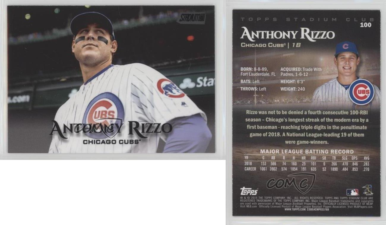 2019 Topps Stadium Club Red Foil #100 Anthony Rizzo