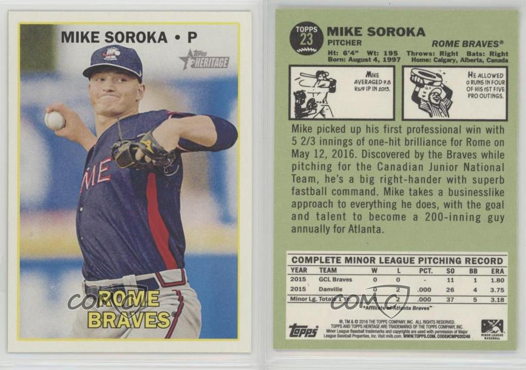 2016-Topps-Heritage-Minor-League-Edition-23-Mike-Soroka-Rome-Braves-Rookie-Card