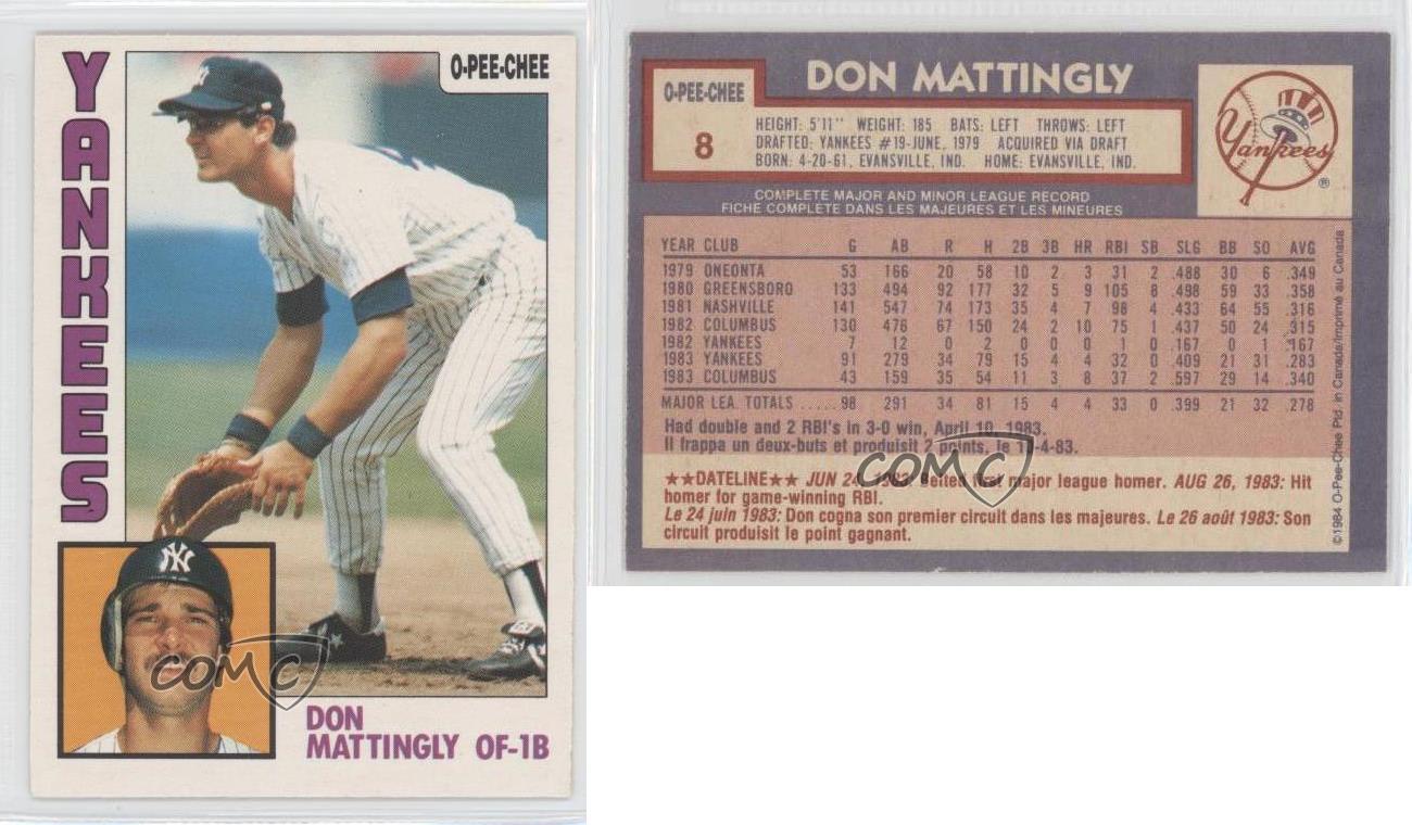 1984 O Pee Chee 8 Don Mattingly New York Yankees Rc