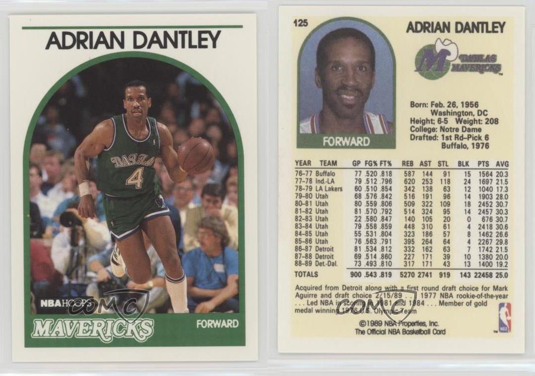 1989 90 NBA Hoops 125 Adrian Dantley Dallas Mavericks Basketball