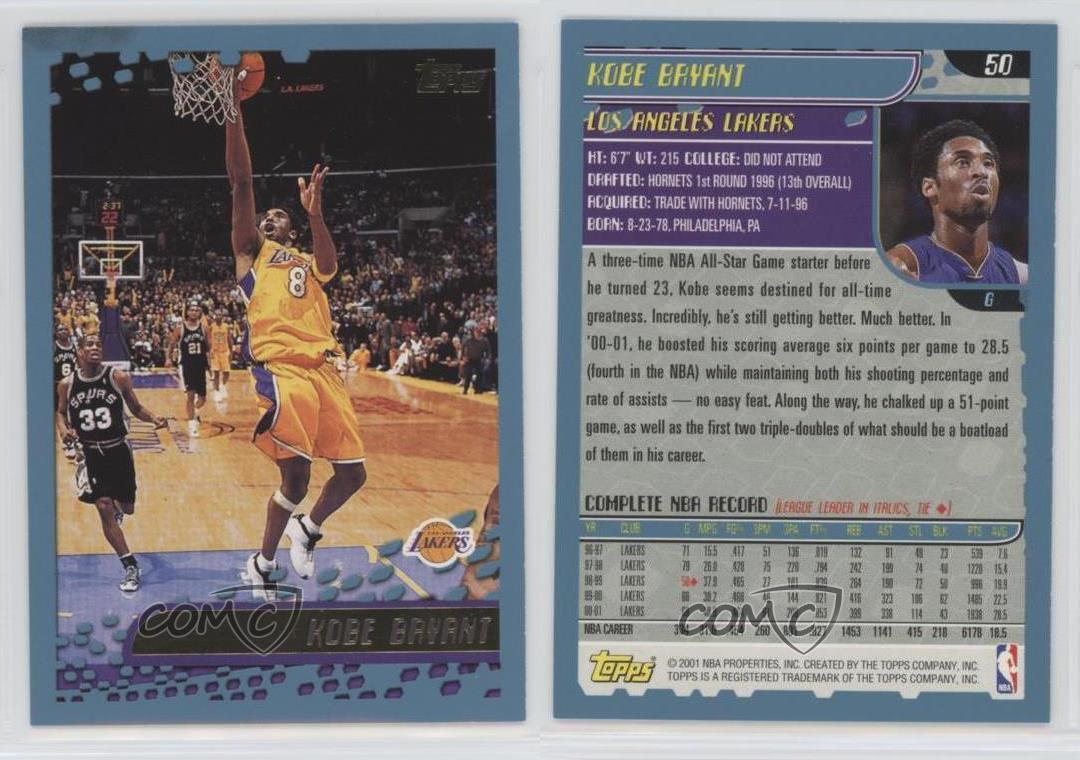 b04de1f5c 2001-02 Topps  50 Kobe Bryant Los Angeles Lakers Basketball Card