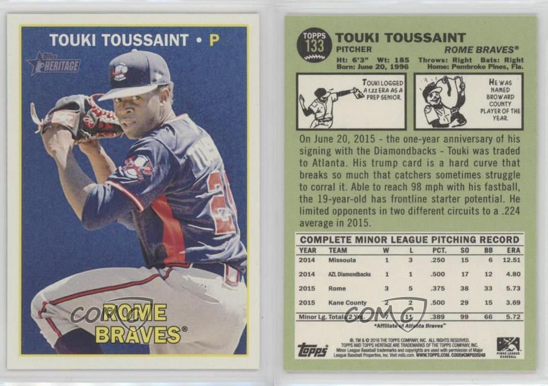 2016-Topps-Heritage-Minor-League-Edition-133-Touki-Toussaint-Rome-Braves-Dany