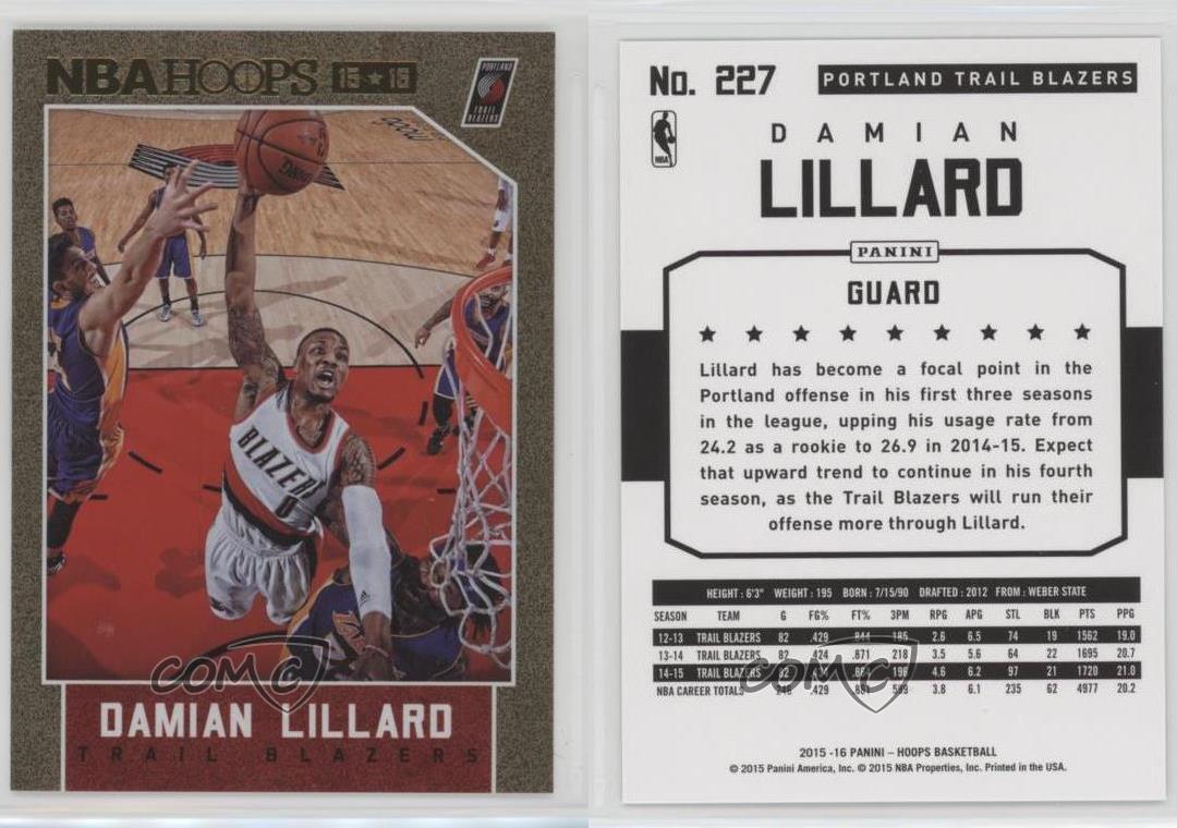 2015-16-Panini-NBA-Hoops-Gold-227-Damian-Lillard-Portland-Trail-Blazers-Card