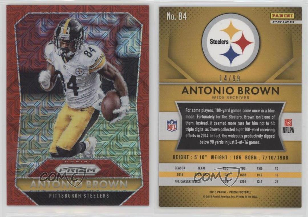 2015 Panini Prizm Red Mojo Prizms #84 Antonio Brown Pittsburgh Steelers Card