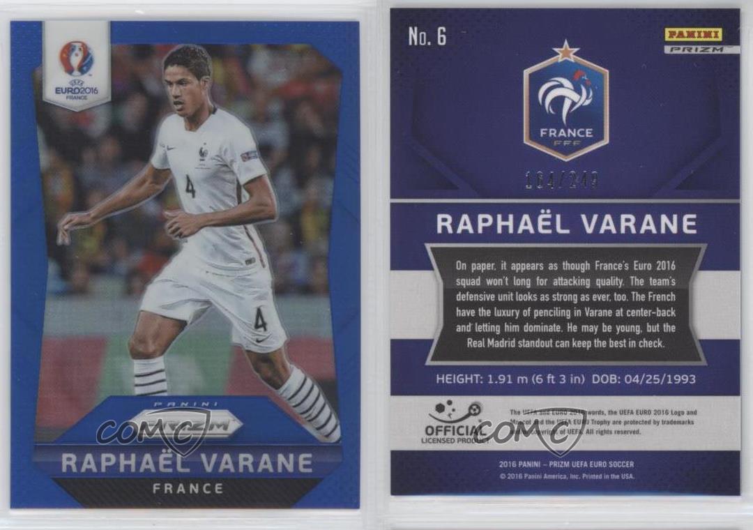 2016 Panini Prizm UEFA Euro Flash Prizms #6 Raphaël Varane Raphael France Rookie