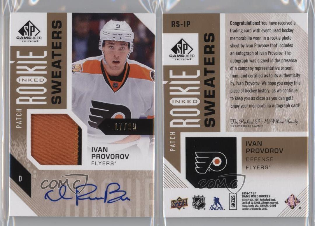 2016-Upper-Deck-SP-Game-Used-RS-IP-Ivan-Provorov-Philadelphia-Flyers-Auto-Card