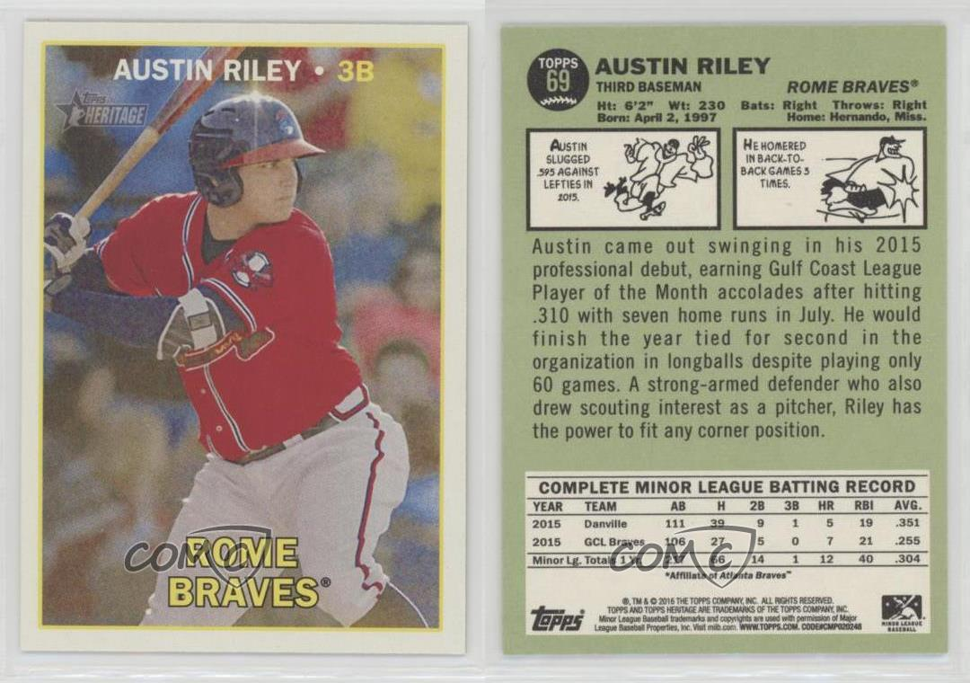 2016-Topps-Heritage-Minor-League-Edition-69-Austin-Riley-Rome-Braves-Rookie-Card