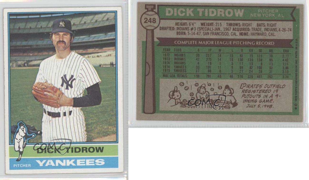 1976 Topps 248 Dick Tidrow New York Yankees Baseball Card