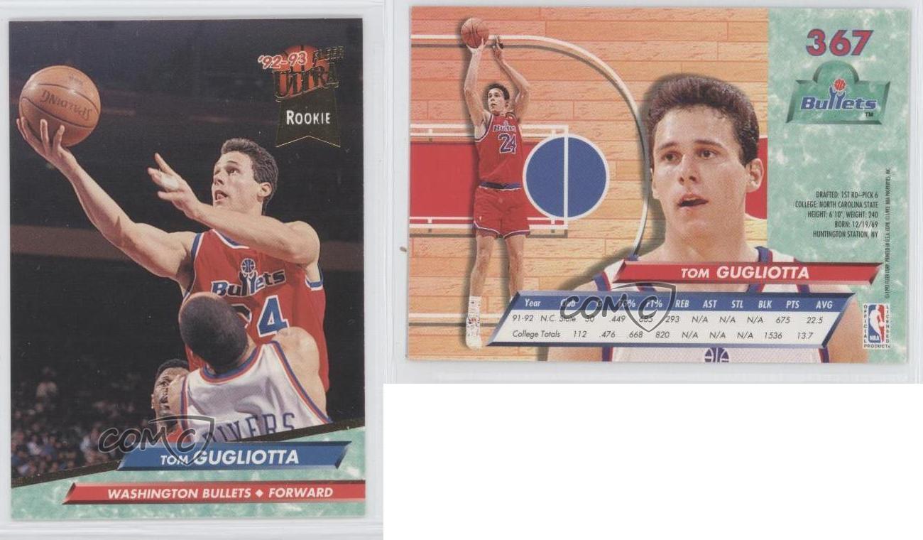 1992 Fleer Ultra 367 Tom Gugliotta Washington Bullets RC Rookie