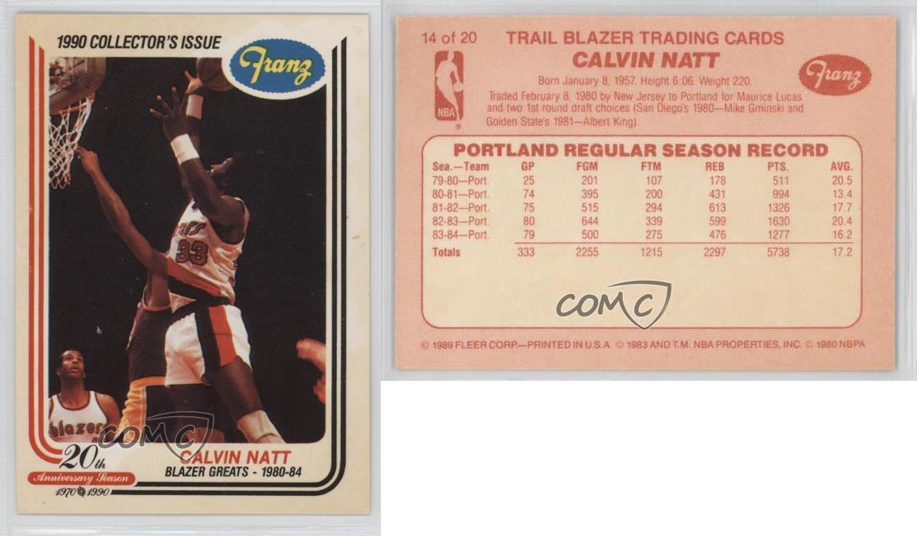 1989 Portland Trail Blazers alimentos problema Franz base 14