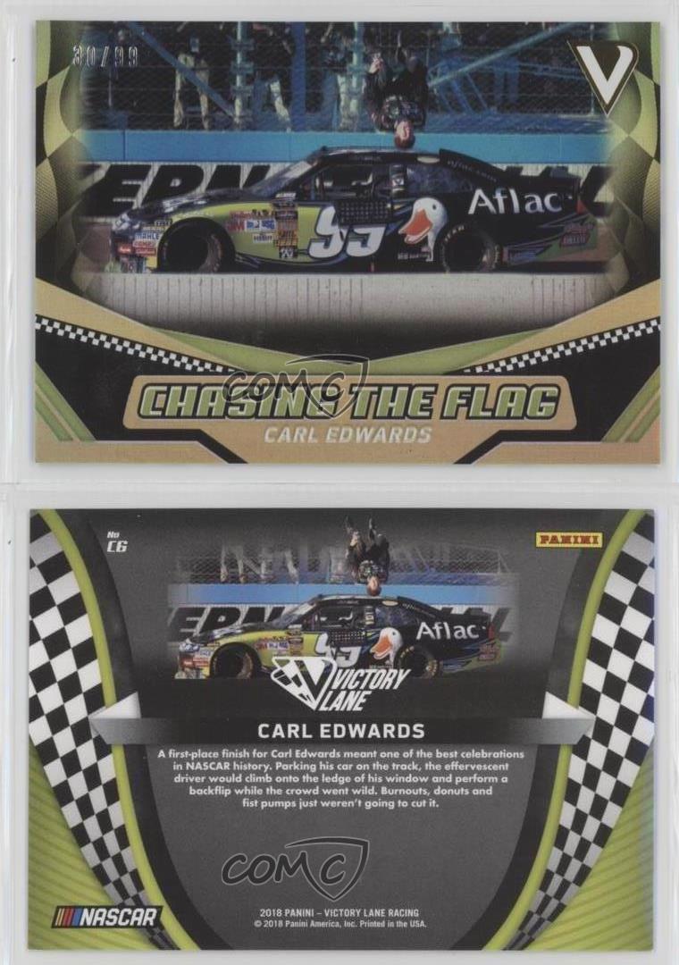 2018-Panini-Victory-Lane-Chasing-the-Flag-Gold-C6-Carl-Edwards-Racing-Card