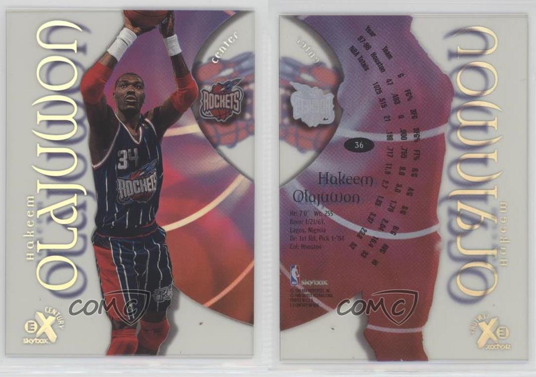 1998-99-Skybox-E-X-Century-36-Hakeem-Olajuwon-Houston-Rockets-Basketball-Card