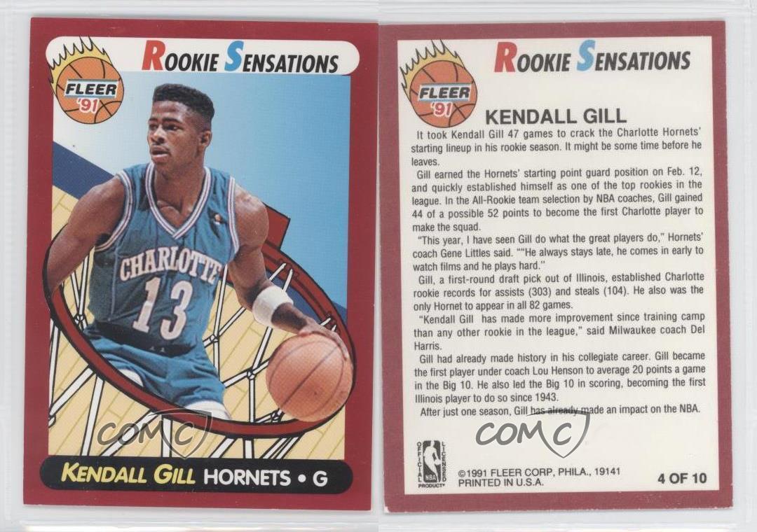 1991 92 Fleer Rookie Sensations 4 Kendall Gill Charlotte Hornets