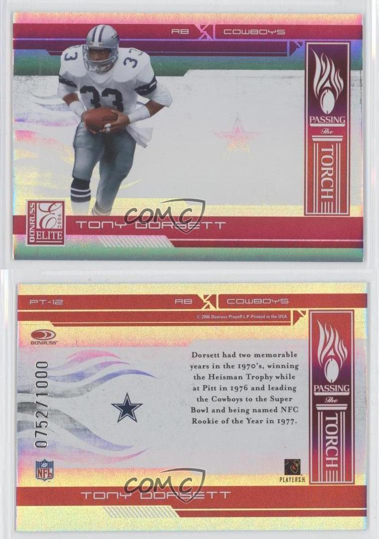 2006-Donruss-Elite-Passing-the-Torch-Red-PT-12-Tony-Dorsett-Dallas-Cowboys-Card