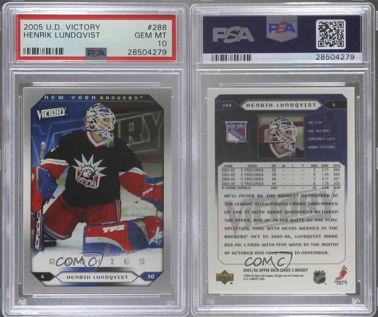 2005-Upper-Deck-Victory-288-Henrik-Lundqvist-PSA-10-GEM-MT-New-York-Rangers-RC