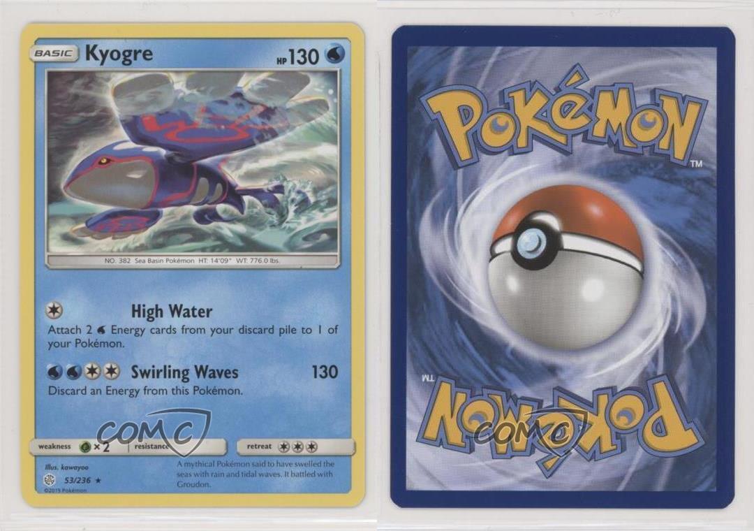 - NM Kyogre 53//236 2019 Cosmic Eclipse Set Rare Pokemon Card