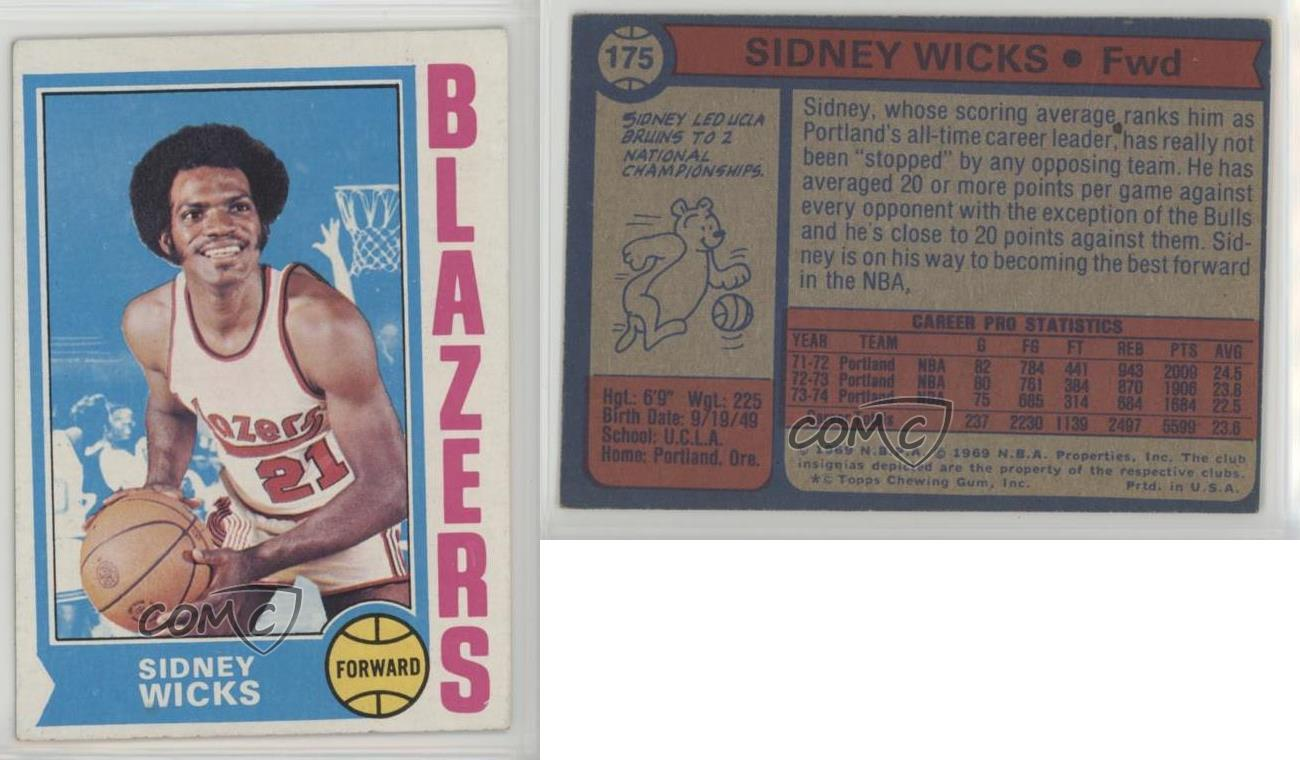 1974 75 Topps 175 Sidney Wicks Portland Trail Blazers Basketball