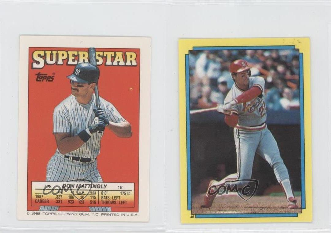 1988 Topps Super Star Sticker Back Cards 35 Don Mattingly