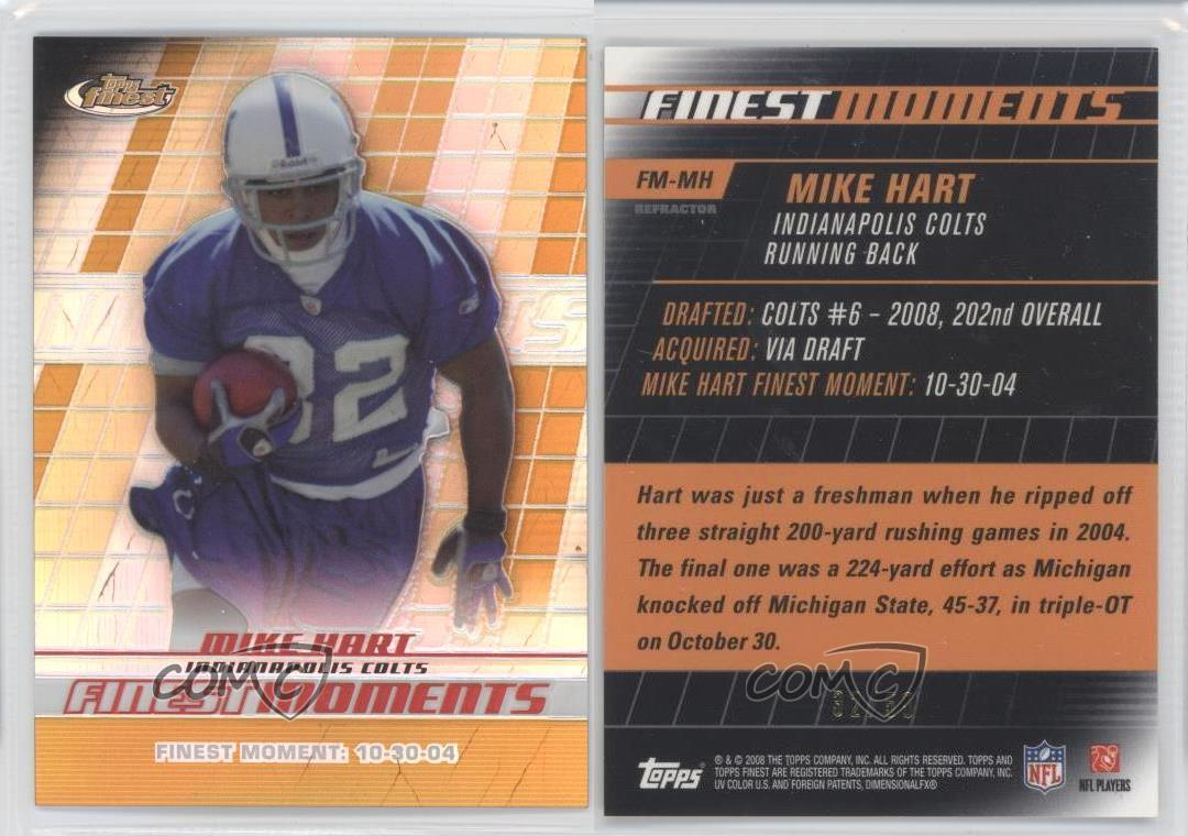 2008-Topps-Finest-Moments-Gold-Refractor-FM-MH-Mike-Hart-Indianapolis-Colts-Card