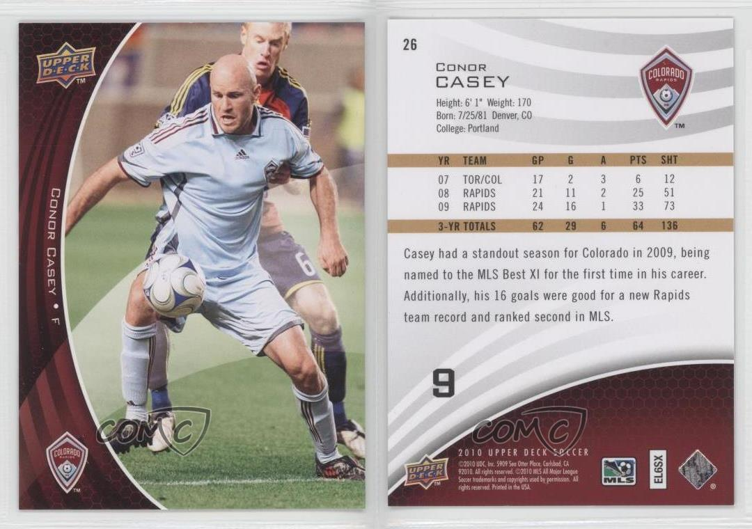 """CONOR CASEY /""""GOLDEN BOOT GB10/"""" UD MLS SOCCER 2009"""