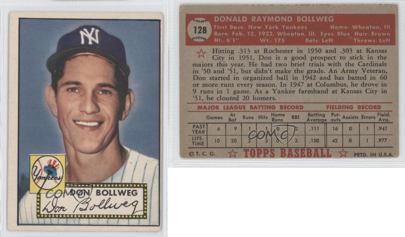 1952 Topps 128 Don Bollweg New York Yankees Rc Rookie