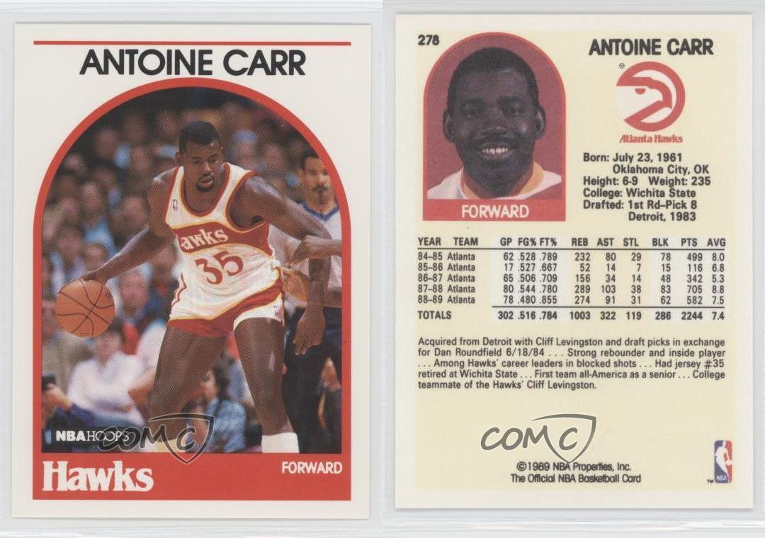 1989 90 NBA Hoops 278 Antoine Carr Atlanta Hawks Basketball Card