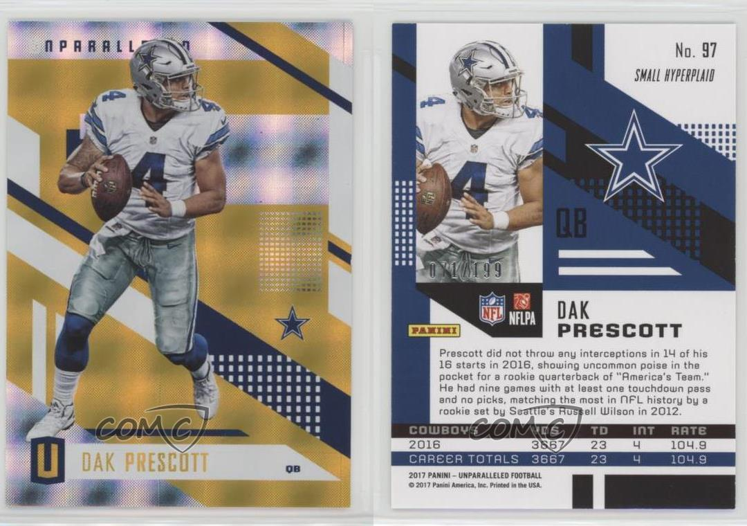 2017-Panini-Unparalleled-Yellow-97-Dak-Prescott-Dallas-Cowboys-Football-Card