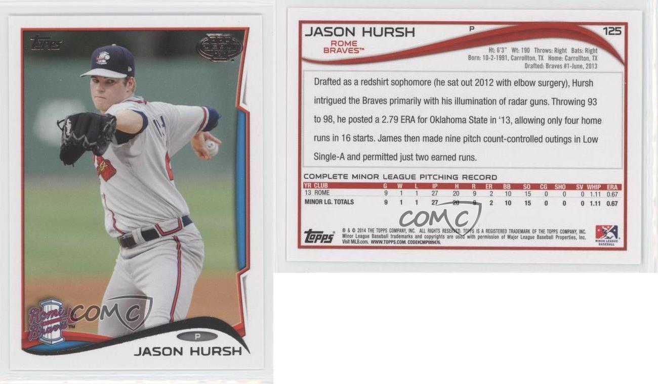 2014-Topps-Pro-Debut-125-Jason-Hursh-Rome-Braves-Rookie-Baseball-Card