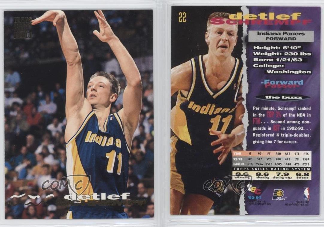 1993 94 Topps Stadium Club 22 Detlef Schrempf Indiana Pacers