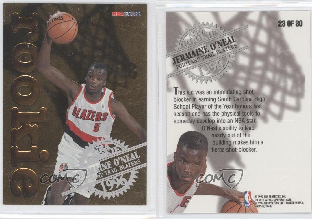 1996-NBA-Hoops-Rookie-23-Jermaine-O-039-Neal-Portland-Trail-Blazers-Basketball-Card