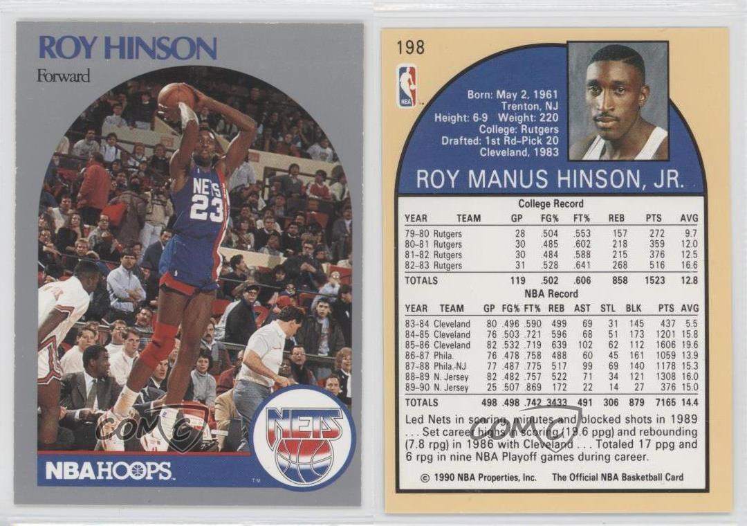 1990 91 Nba Hoops 198 Roy Hinson New Jersey Nets Baloncesto
