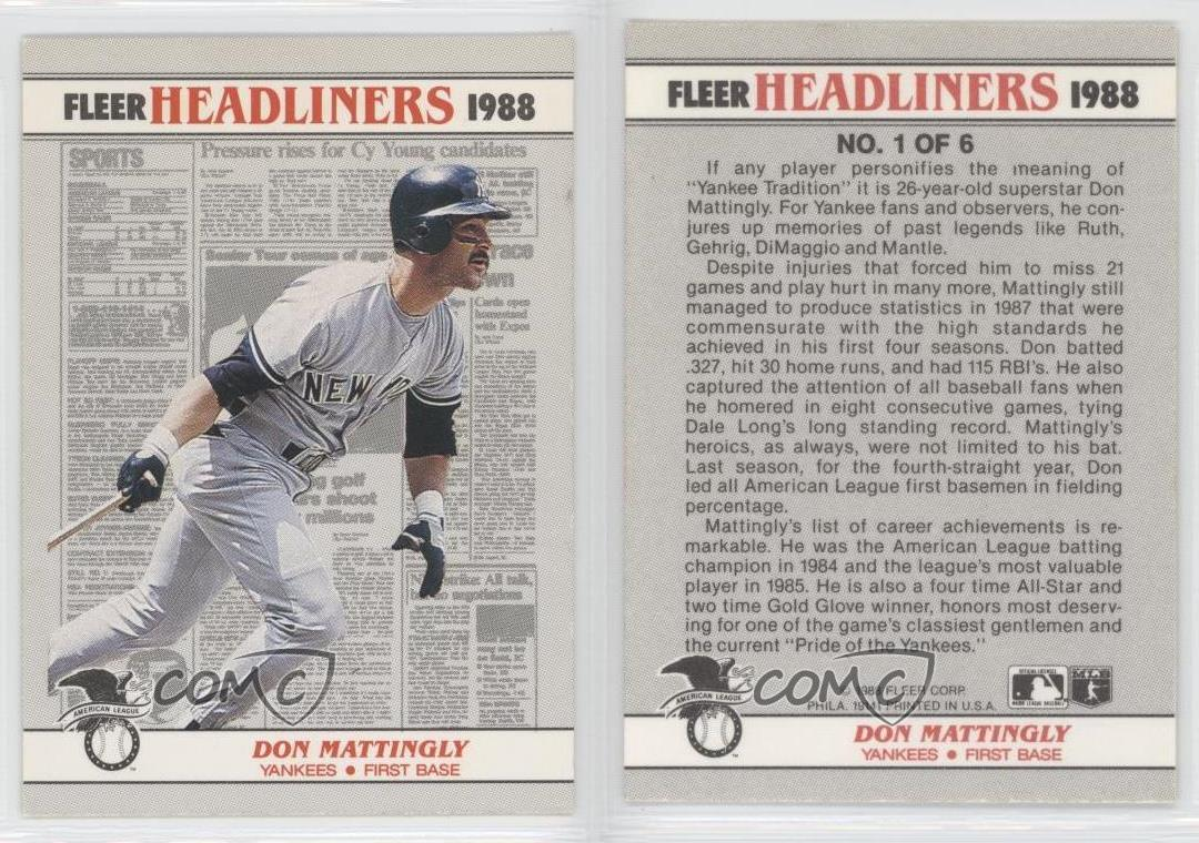 1988 Fleer Headliners 1 Don Mattingly New York Yankees